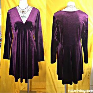 Tiana B Purple Velvet Mini Dress NWT